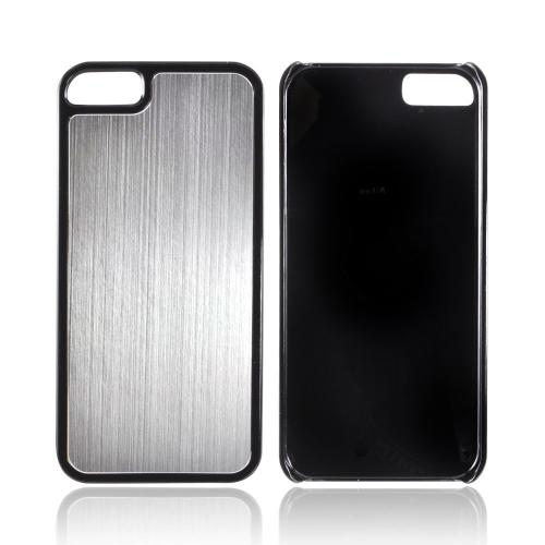 Apple iPhone SE / 5 / 5S  Case,  [Silver/ Black]  Hard Back Cover w/ Aluminum Back Case