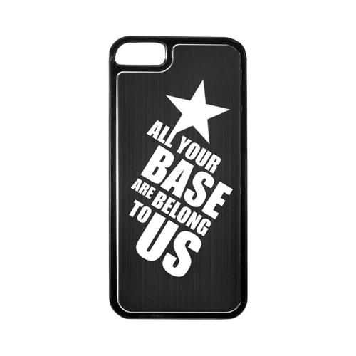 Apple iPhone 5/5S Hard Back Cover w/ Black Aluminum Back - All Your Base Are Belong To Us