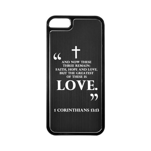 Apple iPhone 5/5S Hard Back Cover w/ Black Aluminum Back - 1 Corinthians 13:13