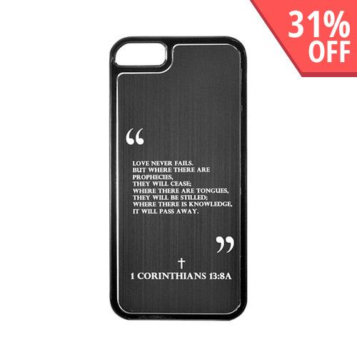 Apple iPhone 5/5S Hard Back Cover w/ Black Aluminum Back - 1 Corinthians 13:8A