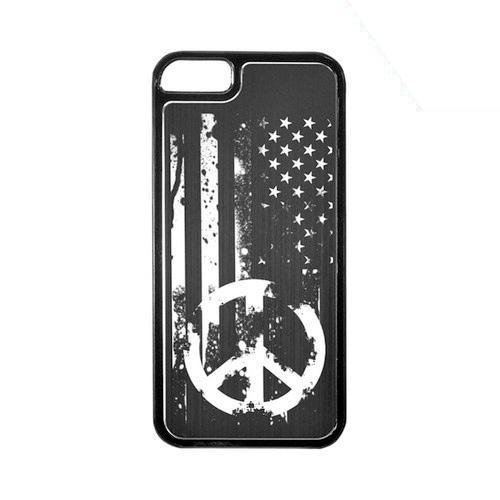 Apple iPhone 5/5S Hard Back Cover w/ Black Aluminum Back - Grunge Flag