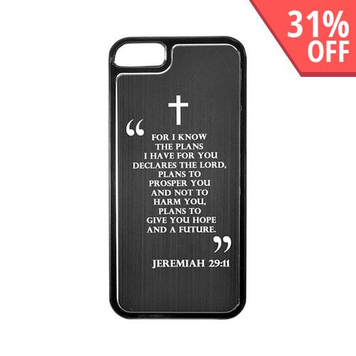 Apple iPhone 5/5S Hard Back Cover w/ Black Aluminum Back - Jeremiah 29:11