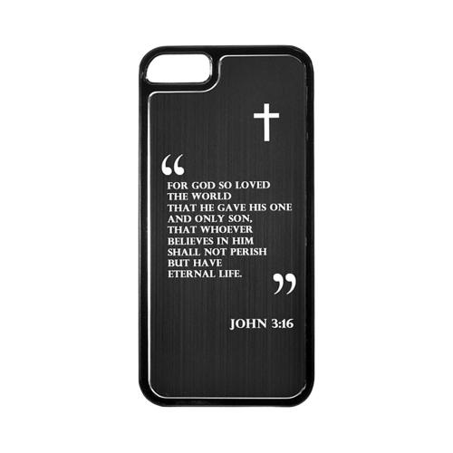 Apple iPhone 5/5S Hard Back Cover w/ Black Aluminum Back - John 3:16