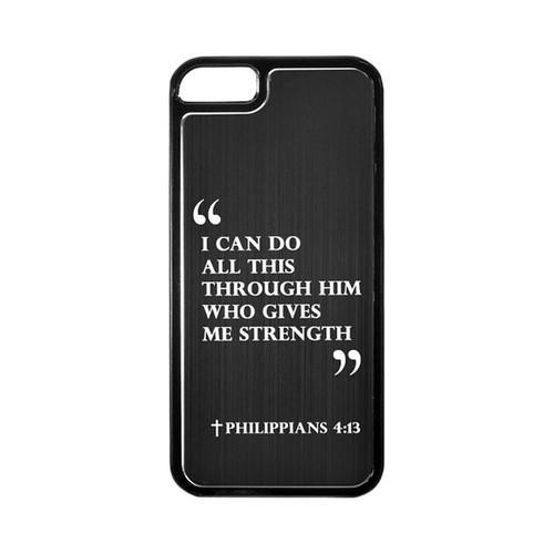 Apple iPhone 5/5S Hard Back Cover w/ Black Aluminum Back - Philippians 4:13