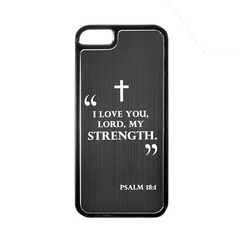 Apple iPhone 5/5S Hard Back Cover w/ Black Aluminum Back - Psalm 18:1