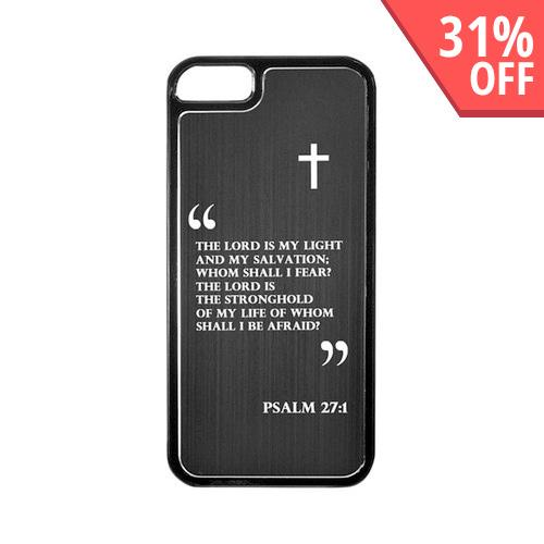 Apple iPhone 5/5S Hard Back Cover w/ Black Aluminum Back - Psalm 27:1