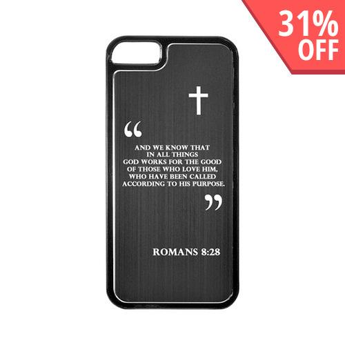 Apple iPhone 5/5S Hard Back Cover w/ Black Aluminum Back - Romans 8:28