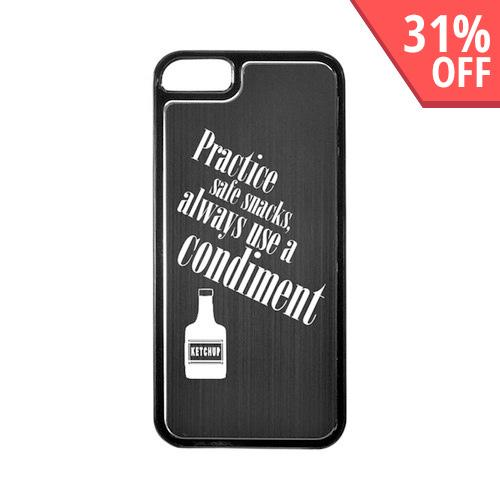 Apple iPhone 5/5S Hard Back Cover w/ Black Aluminum Back - Practice Safe Snacks
