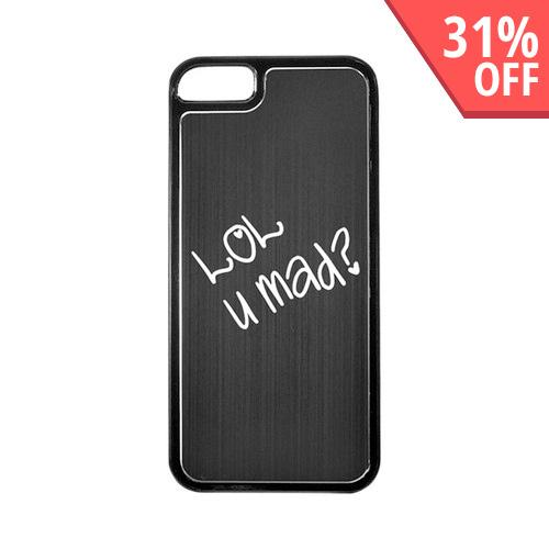 Apple iPhone 5/5S Hard Back Cover w/ Black Aluminum Back - LOL U MAD?