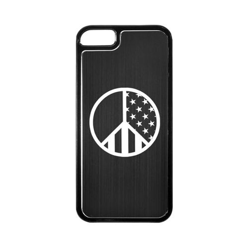 Apple iPhone 5/5S Hard Back Cover w/ Black Aluminum Back - U.S. Peace Sign