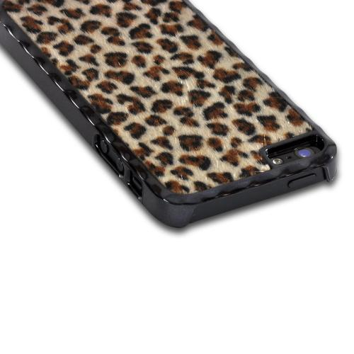 Apple iPhone SE / 5 / 5S Hard Case,  [Brown/ Black Cheetah ]  Aluminum Border & Fabric Back Case Cover