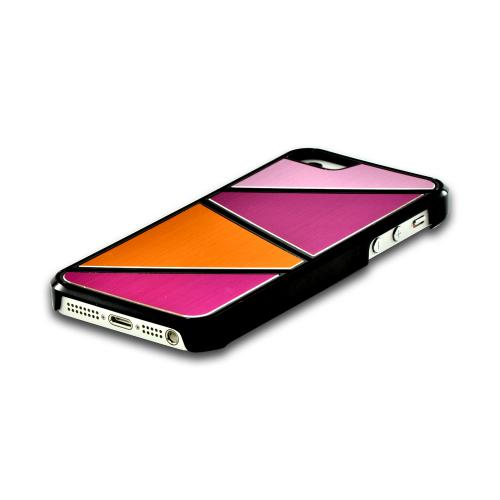 Apple iPhone SE / 5 / 5S Hard Case,  [Hot Pink/ Baby Pink/ Orange]  Aluminum Back & Geometric Shapes Case Cover