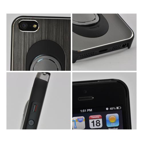 Apple iPhone SE / 5 / 5S  Case,  [Grey/ Black]  Hard Back Cover w/ Aluminum Back & Folding Kickstand