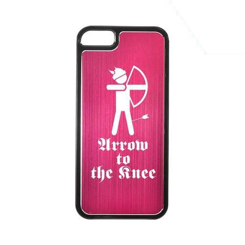 Apple iPhone 5/5S Hard Back Cover w/ Hot Pink Aluminum Back - Arrow to the Knee