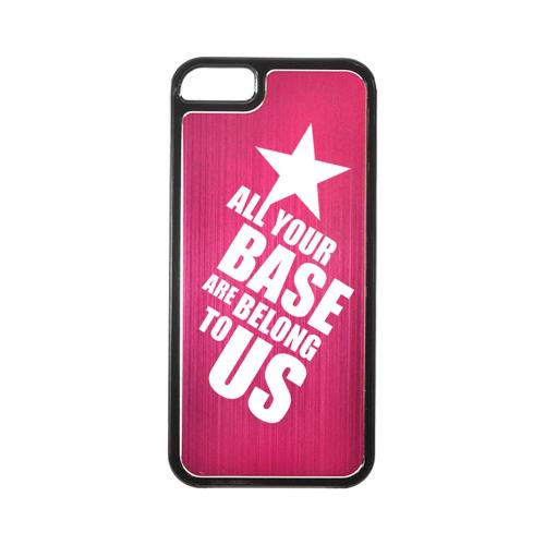 Apple iPhone 5/5S Hard Back Cover w/ Hot Pink Aluminum Back - All Your Base Are Belong To Us