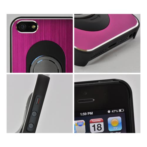 Apple iPhone SE / 5 / 5S  Case,  [Hot Pink/ Black]  Hard Back Cover w/ Aluminum Back & Folding Kickstand