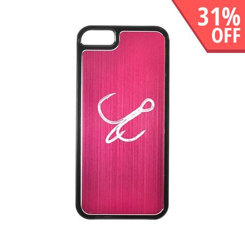 Apple iPhone 5/5S Hard Back Cover w/ Hot Pink Aluminum Back - Fish Hook