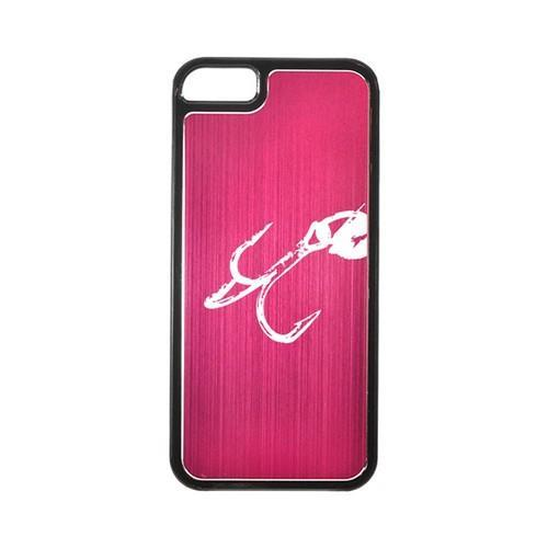 Apple iPhone 5/5S Hard Back Cover w/ Hot Pink Aluminum Back - Fish Hook 2.0