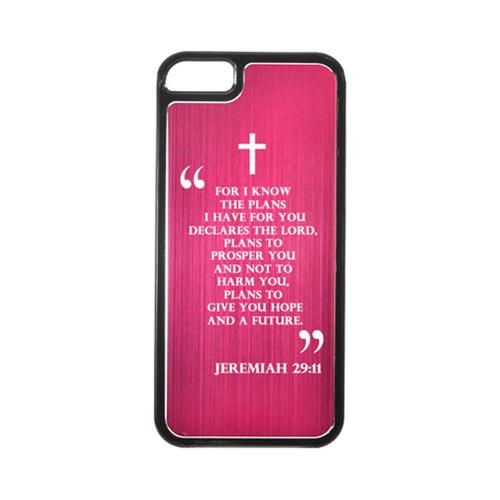 Apple iPhone 5/5S Hard Back Cover w/ Hot Pink Aluminum Back - Jeremiah 29:11