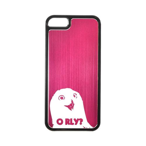 Apple iPhone 5/5S Hard Back Cover w/ Hot Pink Aluminum Back - O RLY?