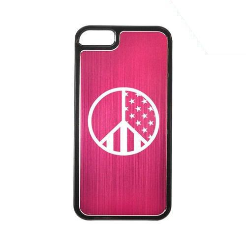 Apple iPhone 5/5S Hard Back Cover w/ Hot Pink Aluminum Back - U.S. Peace Sign