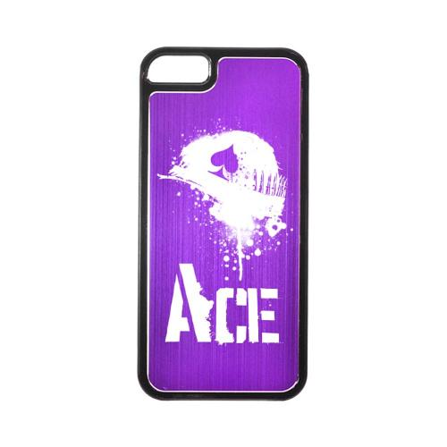 Apple iPhone 5/5S Hard Back Cover w/ Purple Aluminum Back - Ace Helmet
