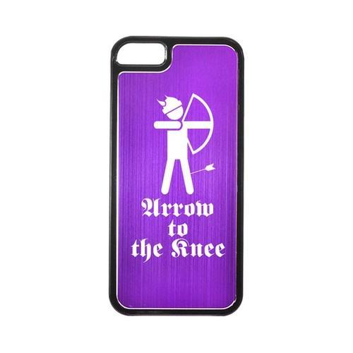 Apple iPhone 5/5S Hard Back Cover w/ Purple Aluminum Back - Arrow to the Knee