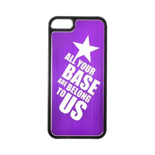 Apple iPhone 5/5S Hard Back Cover w/ Purple Aluminum Back - All Your Base Are Belong To Us