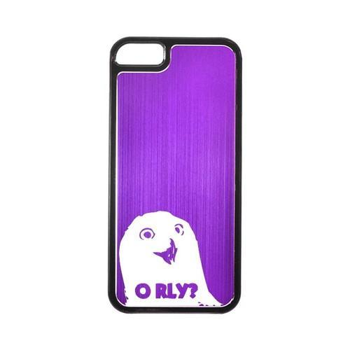 Apple iPhone 5/5S Hard Back Cover w/ Purple Aluminum Back - O RLY?