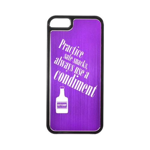 Apple iPhone 5/5S Hard Back Cover w/ Purple Aluminum Back - Practice Safe Snacks