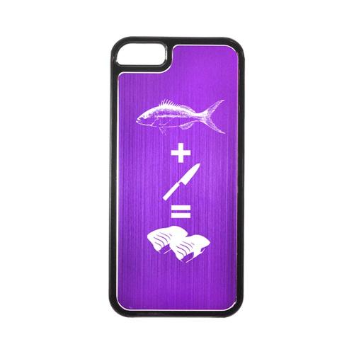 Apple iPhone 5/5S Hard Back Cover w/ Purple Aluminum Back - Fish + Knife = Sushi