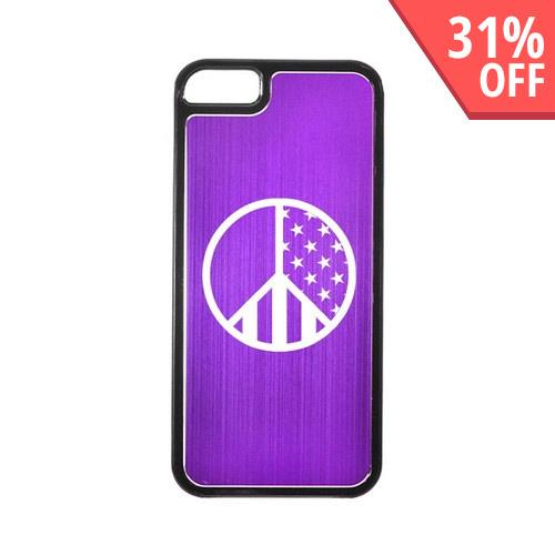 Apple iPhone 5/5S Hard Back Cover w/ Purple Aluminum Back - U.S. Peace Sign