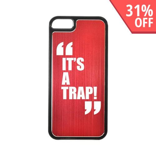 Apple iPhone 5/5S Hard Back Cover w/ Red Aluminum Back - It's a Trap!