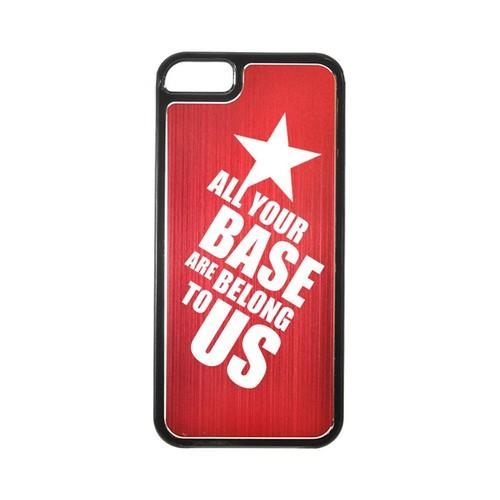 Apple iPhone 5/5S Hard Back Cover w/ Red Aluminum Back - All Your Base Are Belong To Us