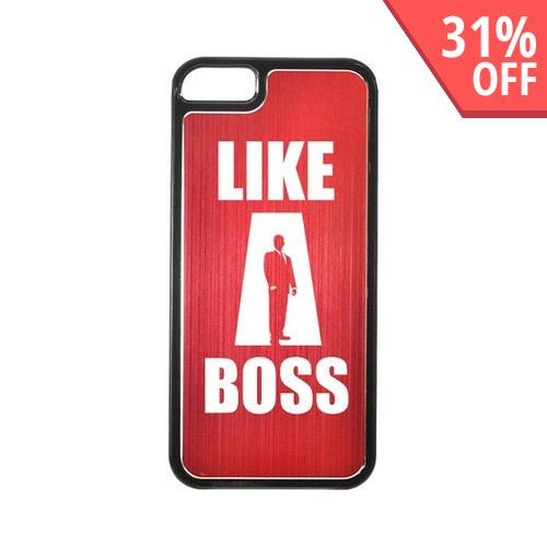 Apple iPhone 5/5S Hard Back Cover w/ Red Aluminum Back - Like a Boss