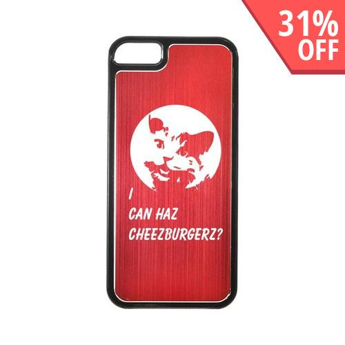 Apple iPhone 5/5S Hard Back Cover w/ Red Aluminum Back - I Can Haz Cheezburgerz?