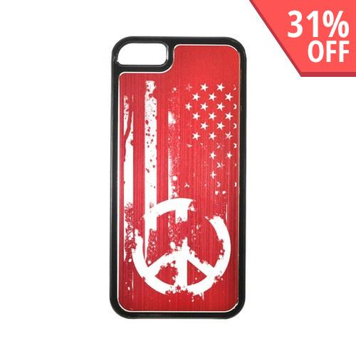 Apple iPhone 5/5S Hard Back Cover w/ Red Aluminum Back - Grunge Flag