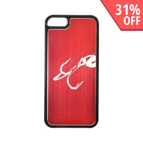 Apple iPhone 5/5S Hard Back Cover w/ Red Aluminum Back - Fish Hook 2.0
