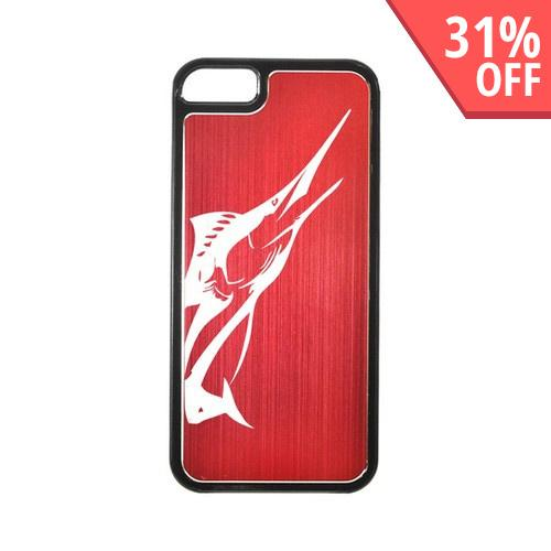 Apple iPhone 5/5S Hard Back Cover w/ Red Aluminum Back - Marlin