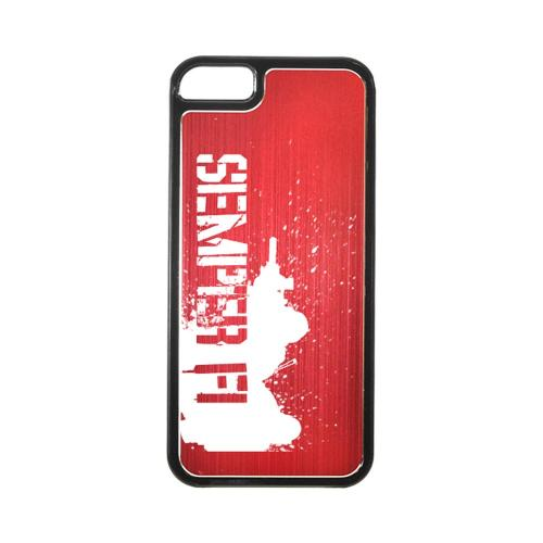 Apple iPhone 5/5S Hard Back Cover w/ Red Aluminum Back - Marine