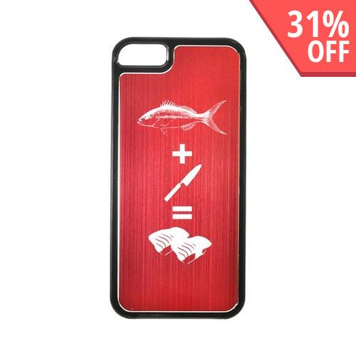 Apple iPhone 5/5S Hard Back Cover w/ Red Aluminum Back - Fish + Knife = Sushi