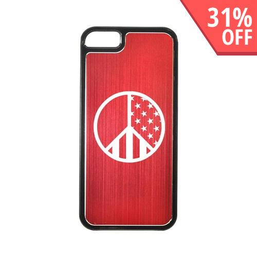 Apple iPhone 5/5S Hard Back Cover w/ Red Aluminum Back - U.S. Peace Sign