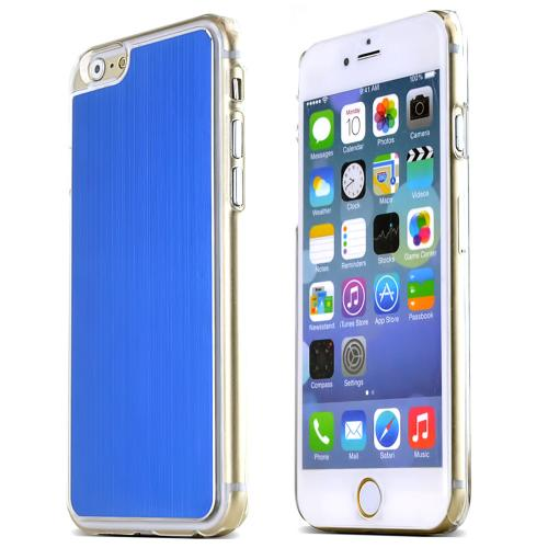 Blue Polycarbonate Plastic Back with Aluminum Metal Border Case Made for Apple iPhone 6 (4.7 inch)