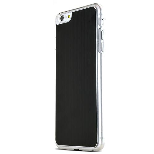 Black Polycarbonate Plastic Back with Aluminum Metal Border Case Made for Apple iPhone 6 PLUS/6S PLUS (5.5 inch)