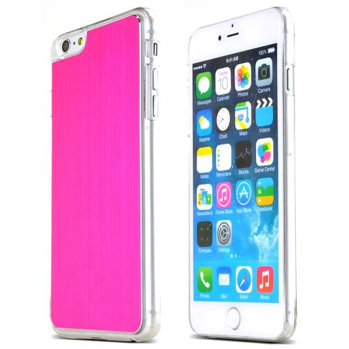Hot Pink Polycarbonate Plastic Back with Aluminum Metal Border Case Made for Apple iPhone 6 PLUS/6S PLUS (5.5 inch)