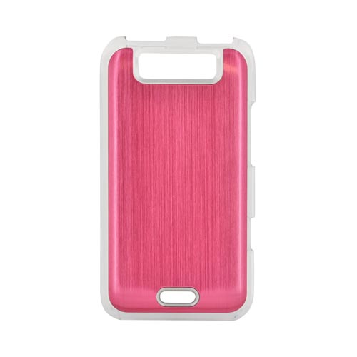 LG Viper 4G LTE/ LG Connect 4G Hard Back Clear Case w/ Aluminum - Hot Pink