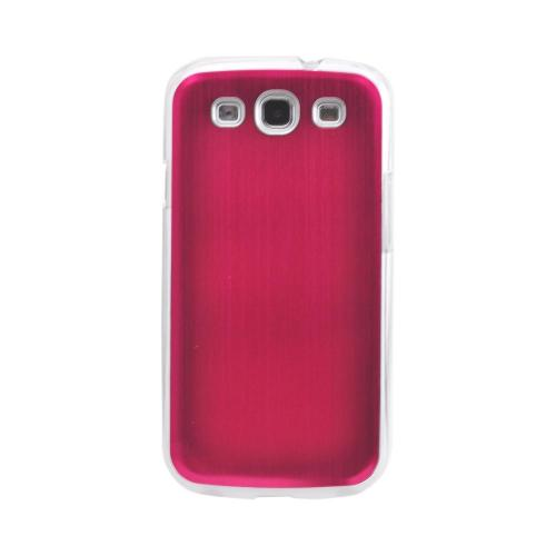 Samsung Galaxy S3 Hard Back Clear Case w/ Aluminum - Red