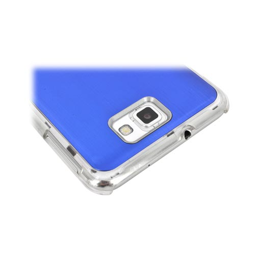 Samsung Galaxy Note Hard Back Clear Case w/ Aluminum - Blue
