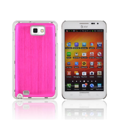 Samsung Galaxy Note Hard Back Clear Case w/ Aluminum - Hot Pink