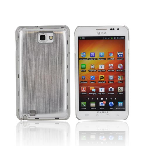 Samsung Galaxy Note Hard Back Clear Case w/ Aluminum - Silver